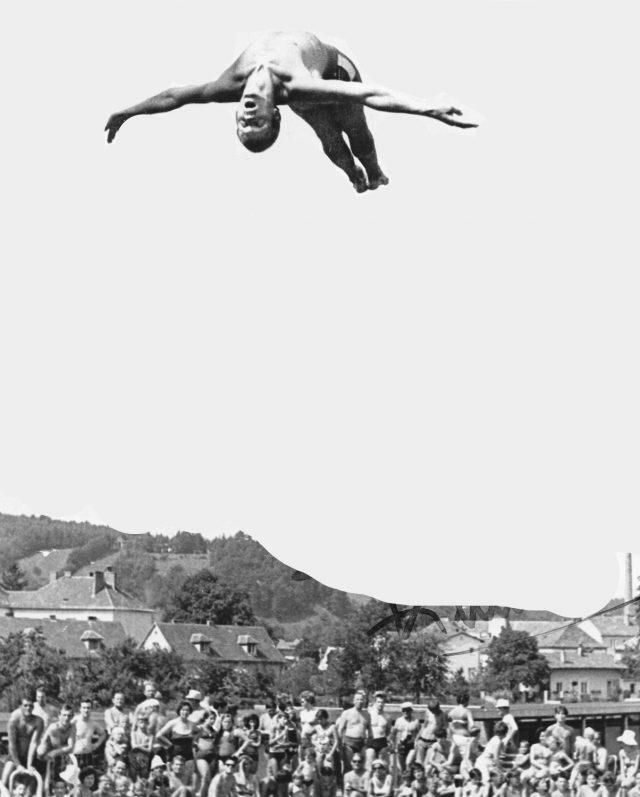 Prof. Erhard Kellner als Wasserspringer 1972