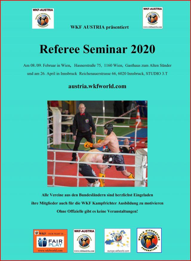 Referee Seminar | zur Verllängerung der WKF Lizenzen | Österreichische Kamprichter Seminar | WKF Austria Landeverband Wien