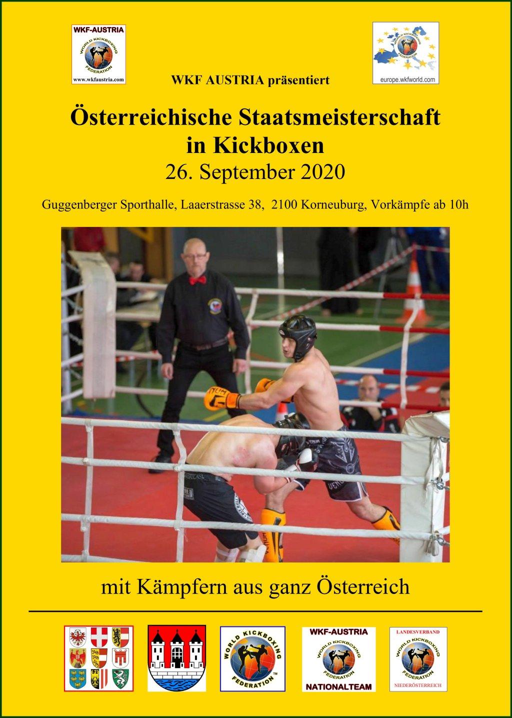 Österreichische Staatsmeisterschaften in Kickboxen am 26. September 2020